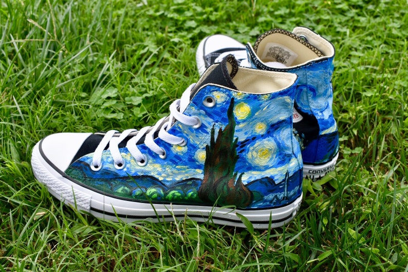 7f95a2af4bce4 Starry Night Custom Hand-Painted Converse High-Tops // Chuck Taylor // All  Stars