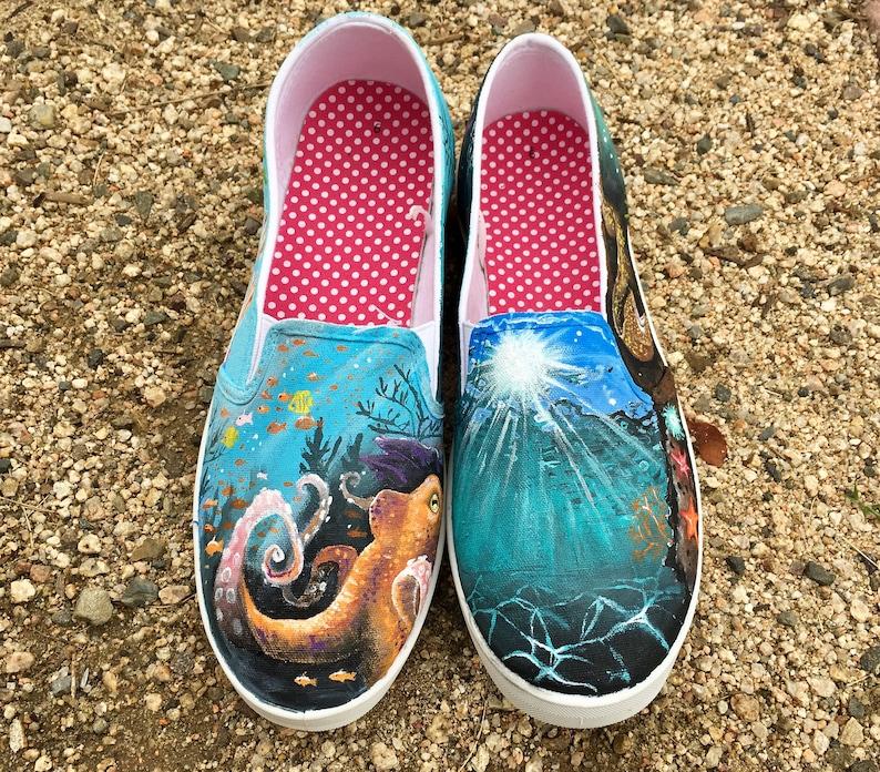 a262f210a2685 Under the Sea Hand-Painted Shoes // Custom // Standard or Vans // Ocean /  Beach / Surfing / Water / Summer / Wildlife / Octopus / Waves //