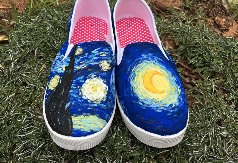 Starry Night Custom Hand-Painted Shoes    Vincent Van Gogh 25a99a9e1