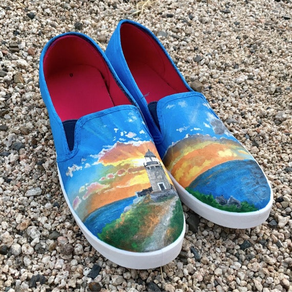 02674731ff98a Lighthouse Custom Hand-Painted Shoes // Standard or Vans // Ocean Sea Beach  //