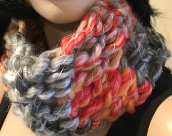 Handmade Cowl-Crochet Cowl-Funky Head Band-Ski Head Band- Cream-Grey-Gray-Orange-Australia