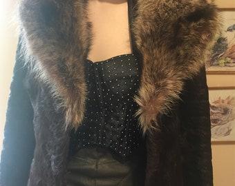 Vintage Fur Coat-1970s Original Fur Coat-Huge Lapels-Vintage Mid Length Coat-German Fur Coat-Australia