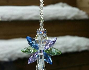 Angel car charm angel decoration crystal angel guardian angel religious gift angel suncatcher memorial angel gift baptism gift