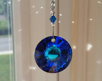 Tropical blue sun catcher, blue crystal car charm, swarovski crystal suncatcher, round ornament for rear view mirror, blue and silver hanger