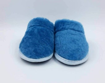 6acf9ea01b823 Ladies slippers custom leather shoes lamb fur natural | Etsy