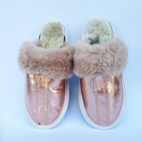 Rose gold slippers, women leather slippers, woman shoes, winter shoes,custom anniversary gift idea, wedding shoes, Christmas gift for her
