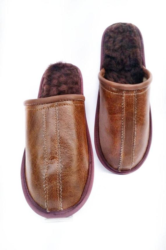 Dark brown leather slippers, luxury men shoes, custom gift for him, flat non slip home slippers, natural sheepskin insole, handmade gift