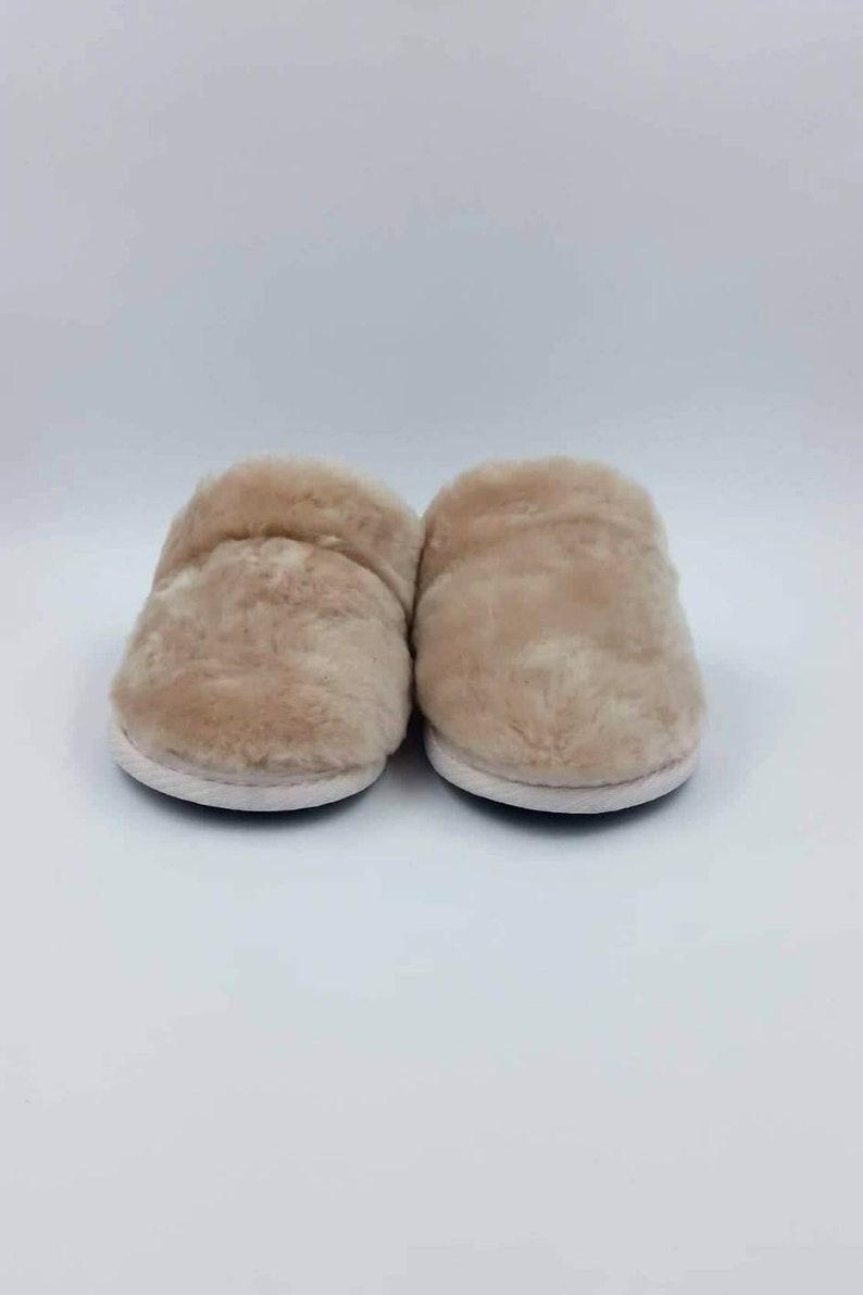 15c4dd705e8c6 Beige slippers custom leather shoes lamb fur natural | Etsy