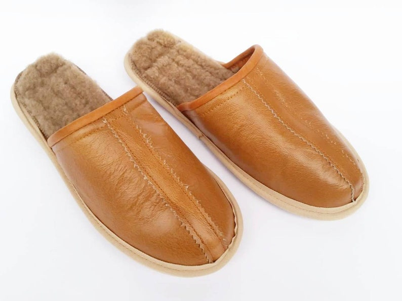 36ac39d325a48 Leather slippers, light brown men home shoes, custom gift for him,  anniversary wedding gift, natural lamb leather, caramel leather shoes,