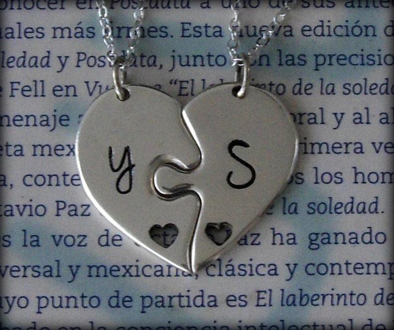 cb70626b89 2 Piece Puzzle Heart Necklace. 2 Best Friend Puzzle Heart | Etsy