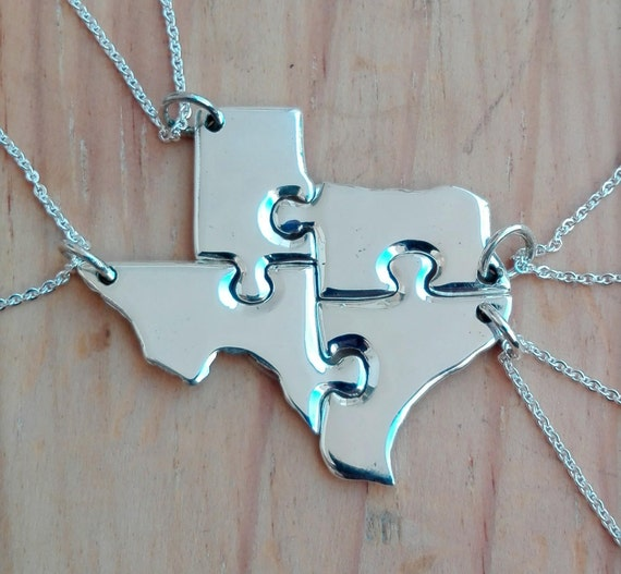 Texas State Map Puzzle Necklace Any State Or Country Puzzle - Texas map puzzle