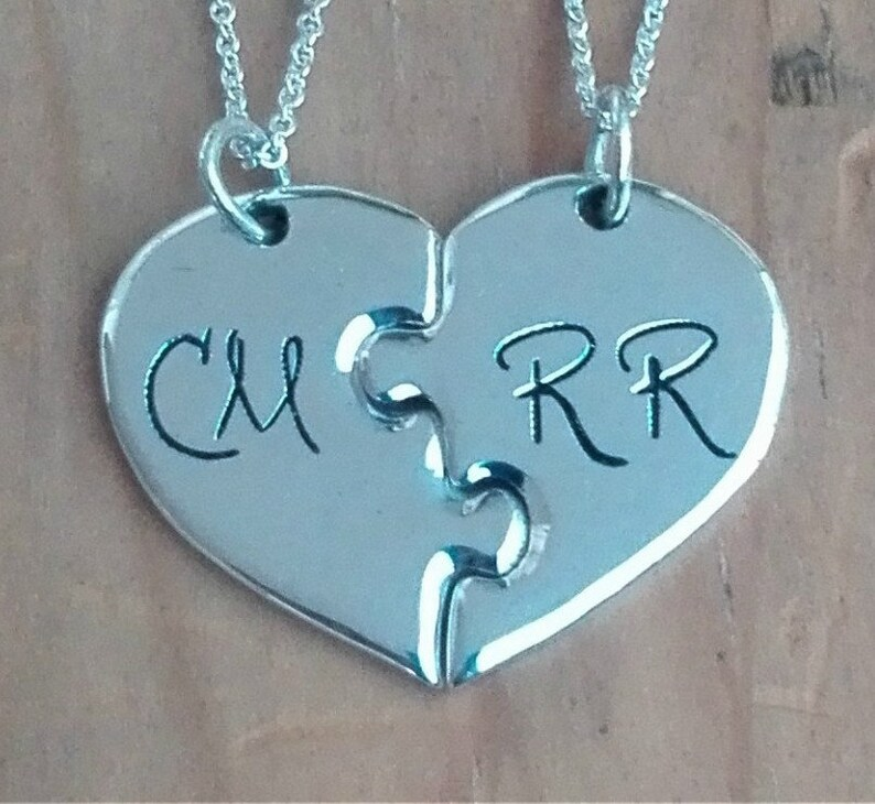 06f43f9409 2 Piece Puzzle Heart Necklace Personalized with 2 initials. | Etsy