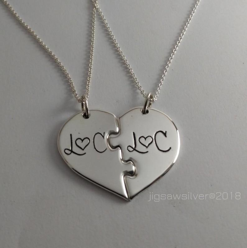1df7ba0d9d 2 Piece Puzzle Heart Necklace. Personalized puzzle heart | Etsy