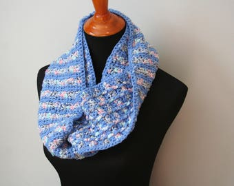 Blue Crochet Cowl, Variegated Blue Crochet Cowl, Striped Crochet Cowl