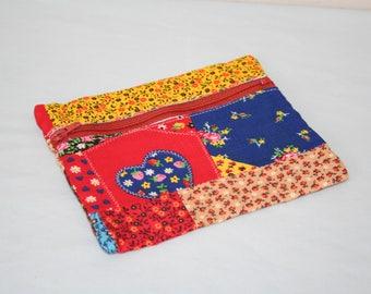 Fabric Zipper Pouch, Zipper Change Purse, Multicolored Floral, Dark Orange Zipper