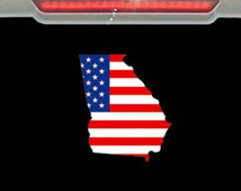 American Flag - State of Georgia Decal