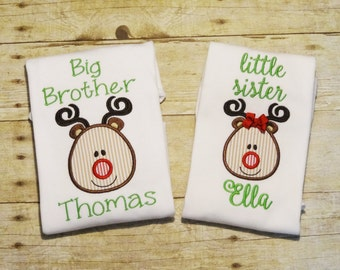 Personalized Big Brother Little Sister Set with Applique Reindeer & Name - Brother Sister Sibling Set - Matching Sibling Christmas Shirts