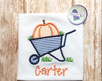 Personalized Fall Shirt with Applique Wheelbarrow - Monogrammed Wheelbarrow Shirt - Fall Shirt - Boys Pumpkin Shirt - Boys Fall Shirt