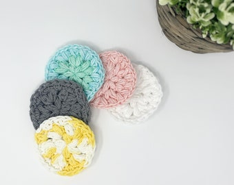 Set of 5 make-up remover pads / handmade make-up remover rings