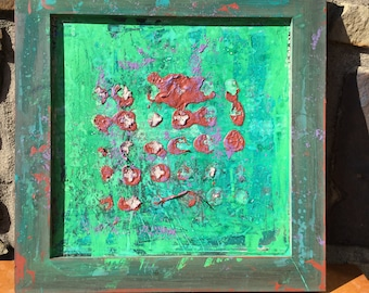 Green abstract framed original painting