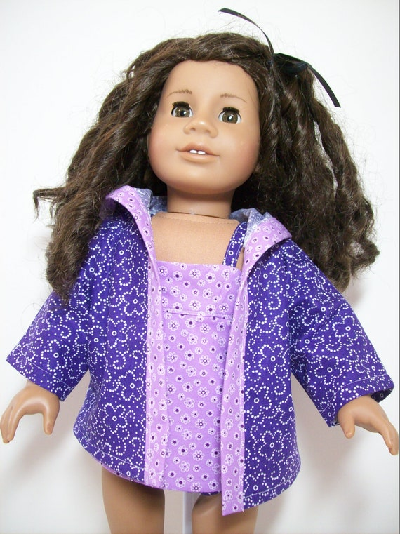 DOLL CLOTHES CUSTOM MADE FOR AMERICAN GIRL DOLL LOT PURPLE BIKINI