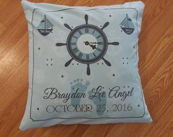 Nautical birth announcement pillow