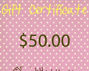 Gift Certificate|Mother's Day|Gifts|Birthday|Christmas|Housewarming