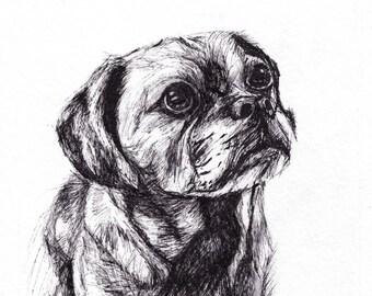 Custom Dog Portraits / Gift for Pet Lover / Custom Pet Portraits / Dog Memorial Art / Pet Loss Gift / Pet Drawings / Animal Art