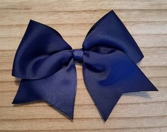 Large Navy Traditional Hair Bow