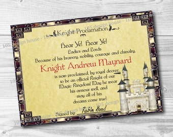 Knight Certificate Etsy