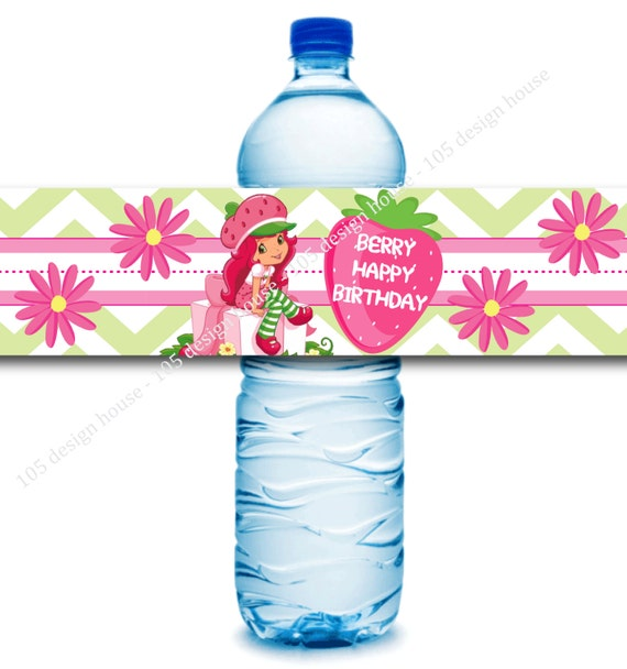 INSTANT DOWNLOAD Strawberry Shortcake Water Bottle Label