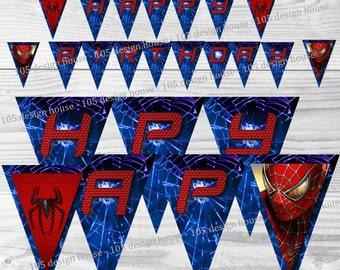 Spiderman Birthday Banner Printable INSTANT DOWNLOAD - Printable Spider-Man Banner - Happy Birthday Banner - Spiderman Printable