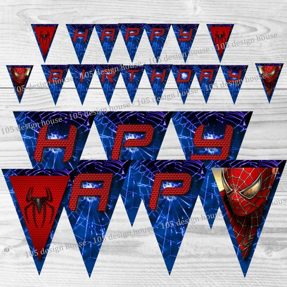 Spiderman Birthday Banner Printable INSTANT DOWNLOAD | Etsy