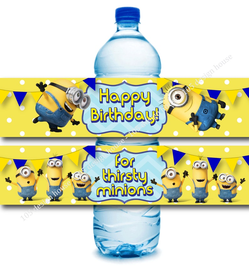 picture relating to Minion Printable called Minion H2o Bottle Label Printable Quick Obtain- Minion Birthday - Minion printable - Minion Social gathering - Minion Label