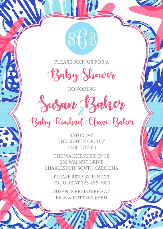 Lilly Pulitzer Invitation Front Back Printable