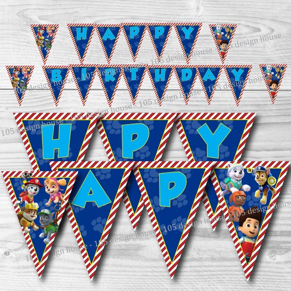 Paw Patrol Happy Birthday Banner Printable INSTANT DOWNLOAD