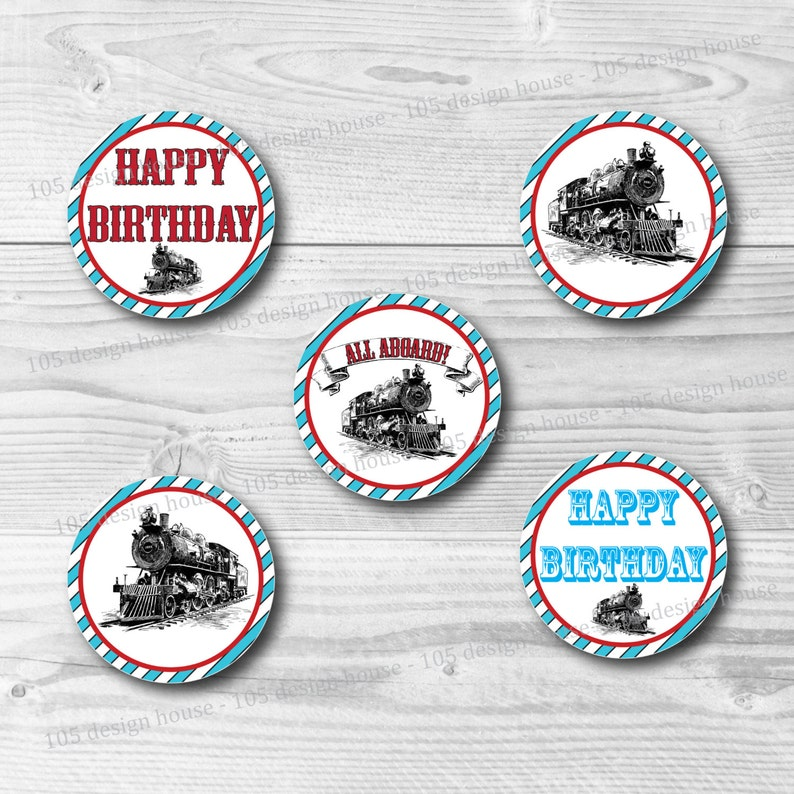 INSTANT DOWNLOAD Train Cupcake Toppers - Printable 2