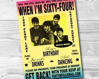 Beatles Inspired Invitation Printable - The Beatles Party - Vintage Beatles Inspired Concert Poster Invitation - Customize for any party