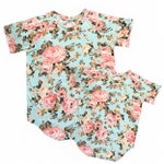 mint floral mommy and me set, womens shirt, kids shirt, matching set, short sleeve shirt, curved hem, round neck shirt, baby girl matching