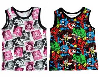 Super hero Princess Tank top, sleeveless, toddler, unisex, gender neutral, summer, summertime, tanks, baby, boy, baby girl, toddler