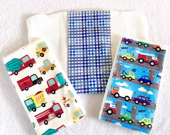 Cars burp cloths, baby gift, baby shower gift,  Burp Rags, flannel burp cloths,  diaper burp cloths, neutrals, Feeding rags, babies