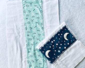 Zodiac stars Cloth diaper, burp cloths, baby gift, baby shower gift,  Burp Rags, flannel burp cloths,  diaper burp cloths, Feeding rags