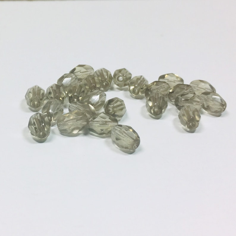 Fire Polished Bead Supply Jewelry Making, Gray Ovals Czech Glass 35 Grey Fire Polished Czech Oval Bead 7x5mm Grey