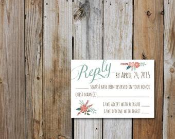 Fancy Script Vintage Inspired RSVP Card, Wedding Invitation RSVP Card