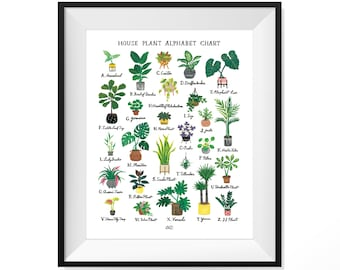 House Plant Alphabet Chart Art Print