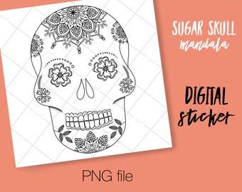 Sugar Skull DIGITAL Coloring Page Transparent Background Sticker For Use In Digital Planning