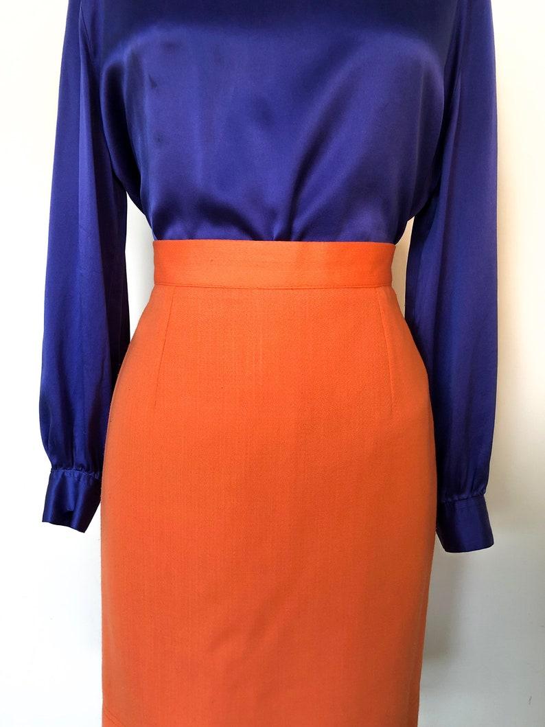 Bestini Neon Orange Mini Skirt Made in France Parisian Street Skirt in Mandarin Orange Above the Knee Citrus Orange Skirt