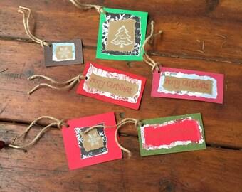 Rustic Christmas gift tags, set of 6, handmade gift tags, holiday gifts, Christmas gifts