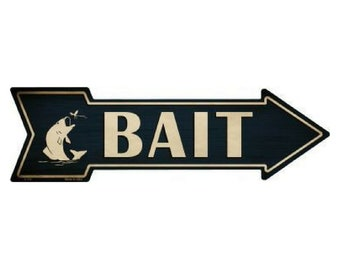 """Fishing Bait This Way To Arrow Sign Directional Novelty Metal 17/"""" x 5/"""""""