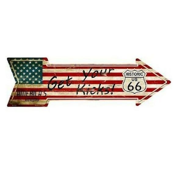 "American Flag Get Your Kicks Rte 66 Novelty Metal Arrow Sign 17/"" x 5/"" Wall Decor"